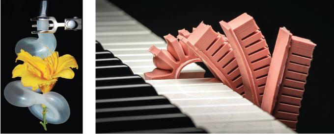 やわらかいロボット触手(左、[Martinez et al., 2013]より)、ピアノの鍵盤を押す触手(右、[Mosadegh et al., 2013])